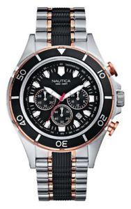 【送料無料】nautica a45001g mens halyard two tone chronograph watchshowroom demo 95