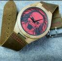 【送料無料】 skull wood watch with cowhide leather strap