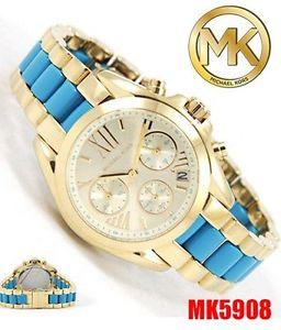 腕時計, 男女兼用腕時計  womens michael kors mk5908 bradshaw gold tone steel amp; blue acetate watch