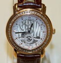 【送料無料】lucien piccard 27026ro swiss made mens rose gold crystal watch leather strap