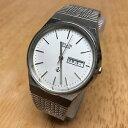 【送料無料】vintage telux mens steel silver analog quartz watch hours~day date~ battery