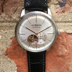 腕時計, 男女兼用腕時計 zeppelin flatline 73644 automatic open heart 1 zulu strap