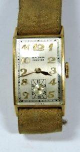 腕時計, 男女兼用腕時計 antique deco waltham premier 14k yellow gold engraved mens wrist watch w208