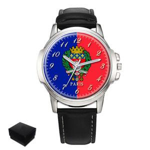【送料無料】city of paris flag coat of arms france gents mens wrist watch gift engraving