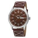 【送料無料】mens august steiner as8074br classic quartz movement date leather strap watch