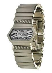 【送料無料】moog paris montre femme avec cadran blanc, elments swarovski, bracelet argent