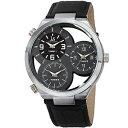 【送料無料】mens joshua amp; sons jx118gy two time zones small seconds leather strap watch