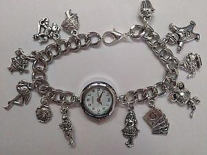 【送料無料】handmade alice in wonderland silver charm bracelet watch with 12 charms 20cm