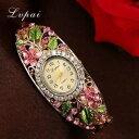 【送料無料】lvpai fashion gold watches bracelet watch women flower gemstone classic alloy