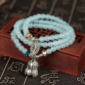 【送料無料】6mm vintage crystal bracelet beads tibetan silver charm pendant multilayer brace