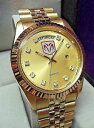 【送料無料】1990s dodge ram mopar gold plated president quartz calendar bracelet mens watch