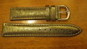 【送料無料】bracelet montre couleur or fonce graine cuir surpique en fil couleur or t20mm