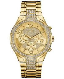 【送料無料】guess womens crystal accent goldtone stainless steel bracelet watch u0628l2