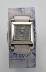 腕時計, 男女兼用腕時計 decade watch womens white stainless steel silver colorful wide leather quartz