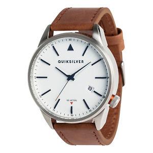 腕時計, 男女兼用腕時計 quiksilver mens the timebox leather analogue watch silver bnwt