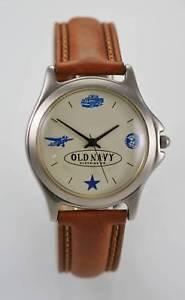 【送料無料】old navy watch mens beige silver stainless leather brown water resist quartz
