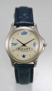 【送料無料】old navy watch mens beige stainless silver water resistant blue leather quartz