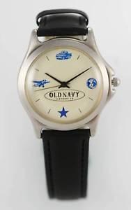 【送料無料】old navy mens leather stainless steel water resistant quartz battery watch