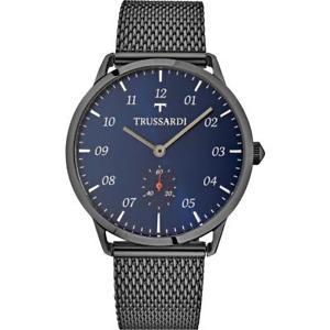 腕時計, 男女兼用腕時計 orologio uomo trussardi tworld r2453116003 acciaio nero maglia mesh blu