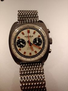 腕時計, 男女兼用腕時計 kienzle chronograph valjoux 7733 oversize steel case perfect orologio cronografo