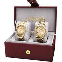 【送料無料】 his amp; hers akribos xxiv ak888yg goldtone crystal accented steel watch set
