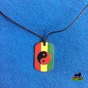 【送料無料】ネックレス タグペンダントネックレスジャマイカレゲエdog tag rasta yin yang collier pendentif jah love rasta jamaque reggae 1 sz