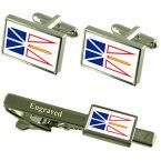 【送料無料】メンズアクセサリ— ニューファウンドランドラブラドールフラグカフスボタンタイクリップマッチングボックスfoundland amp; labrador flag cufflinks engraved tie clip matching box set