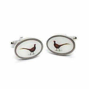 【送料無料】メンズアクセサリ— キジシルバーカフスボタンハンティングメンズpheasant bird oval silver cufflinks shooting hunting mens gift gamekeeper