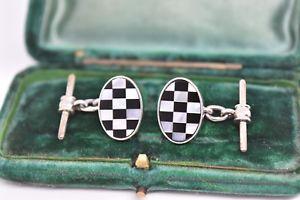 【送料無料】メンズアクセサリ— ビンテージアールデコスターリングシルバーパールオニキスカフリンクスvintage art deco sterling silver cufflinks with mother of pearl and onyx g159