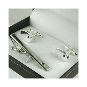 【送料無料】メンズアクセサリ— エメラルドペリドットグリーンカフスボタンタイクリップボックスセットemerald peridot green cufflinks amp; tie clips gift box set