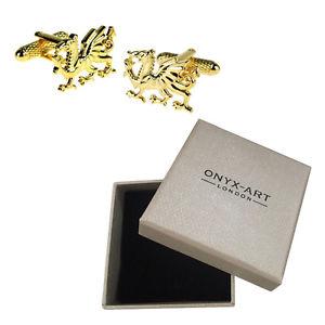 【送料無料】メンズアクセサリ— メンズゴールドウェルシュドラゴンウェールズカフスボタンオニキスアートボックスオンmens gold welsh dragon wales cufflinks amp; gift box by onyx art