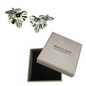 【送料無料】メンズアクセサリ— アフリカサファリカフスボタンオニキスアートボックスオンmens elephant african animal safari cufflinks amp; gift box by onyx art