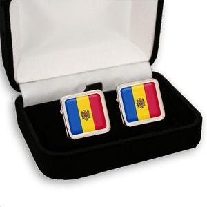 【送料無料】メンズアクセサリ— モルドバメンズカフスボタンボックスmoldova flag men's cufflinks gift box engraving