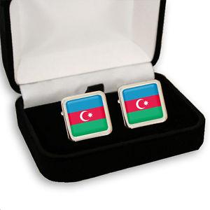 【送料無料】メンズアクセサリ— アゼルバイジャンメンズカフスボタンボックスazerbaijan flag men's cufflinks gift box engraving
