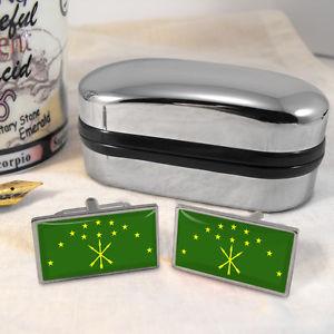 【送料無料】メンズアクセサリ— フラグロシアカフスボタンボックスadygea flag russia cufflinks amp; box