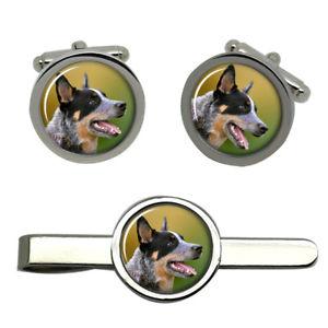 【送料無料】メンズアクセサリ— オーストラリアラウンドタイクリップセットaustralian cattle dog round cufflink and tie clip set