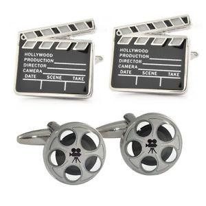 【送料無料】メンズアクセサリ— ムービーリールレザーケースマニアクラシックカフスボタンmovie reels amp; classic film clapperboard cufflinks in leather case film buff n195