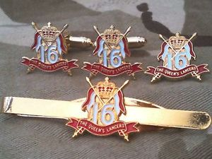 【送料無料】メンズアクセサリ— クイーンズロイヤルカフスボタンバッジネクタイクリップセット16th 5th queens royal lancers cufflinks, badge, tie clip military gift set