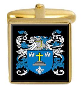 【送料無料】メンズアクセサリ— カフスボタンボックスコートtenby wales family crest surname coat of arms gold cufflinks engraved box