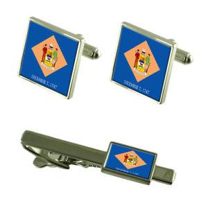 【送料無料】メンズアクセサリ— デラウェアカフスボタンタイクリップマッチングボックスセットdelaware flag cufflinks tie clip matching box gift set