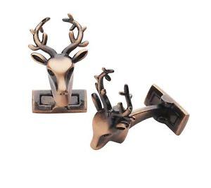 【送料無料】メンズアクセサリ— トロフィーカフスボタンlaksen trophy deer cufflinks copper