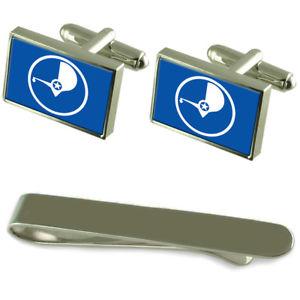 【送料無料】メンズアクセサリ— ヤップフラグシルバーカフスボタンタイクリップセットyap flag silver cufflinks tie clip engraved gift set