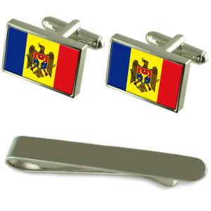 【送料無料】メンズアクセサリ— モルドバシルバーカフスボタンタイクリップセットmoldova flag silver cufflinks tie clip engraved gift set