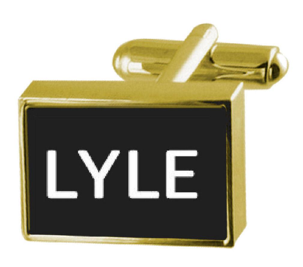 メンズジュエリー・アクセサリー, カフス  engraved box goldtone cufflinks name lyle