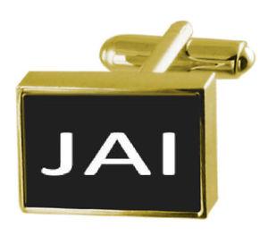 メンズジュエリー・アクセサリー, カフス  jaiengraved box goldtone cufflinks name jai