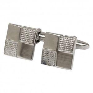 【送料無料】メンズアクセサリ— スクエアカフリンクスsilver chequer square cufflinks
