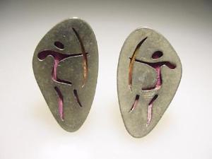 【送料無料】メンズアクセサリ— ビンテージロスカスティージョメキシコシルバーアーチャーカフリンクスvintage los castillo azteca mid century mexican silver archer bow cuff links