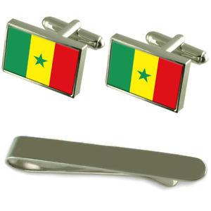 【送料無料】メンズアクセサリ— セネガルシルバーカフスボタンタイクリップセットsenegal flag silver cufflinks tie clip engraved gift set