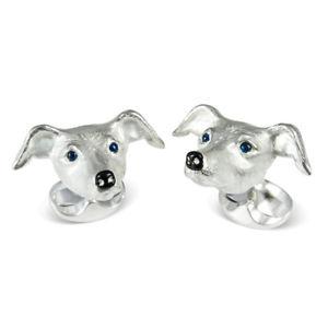 【送料無料】メンズアクセサリ— ディーキンフランシスカフリンクススターリングシルバーエナメルサファイアdeakin and francis whippet dog cufflinks sterling silver enamel amp; sapphire eyes