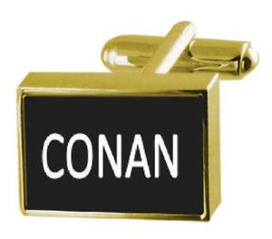 メンズジュエリー・アクセサリー, カフス  engraved box goldtone cufflinks name conan